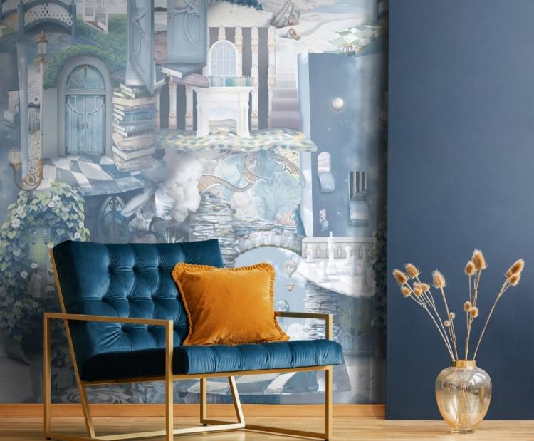 Unique Wonderland Commercial Custom Wallpaper In Peacock Blue