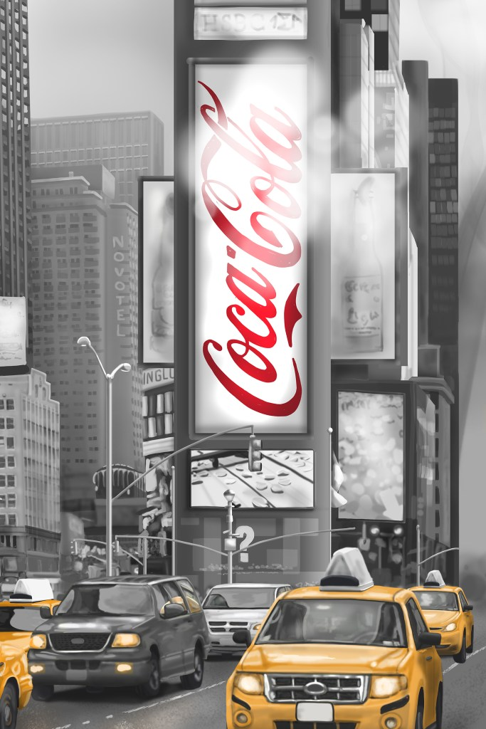 New York Wall Mural CIty Cab Detail Illustrated coca cola sign 2