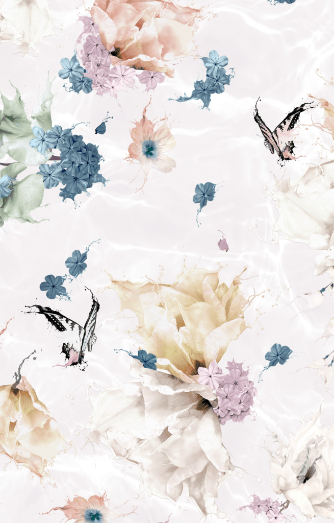 Beautiful Girls Interior Wallpaper with a pink floral and butterfly design. custom luxury kids wallpaper