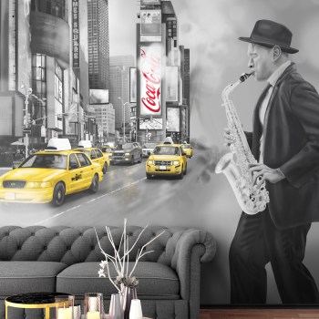custom wall mural wallpaper of new York Times Square with jazz music - grey tone pops of colour