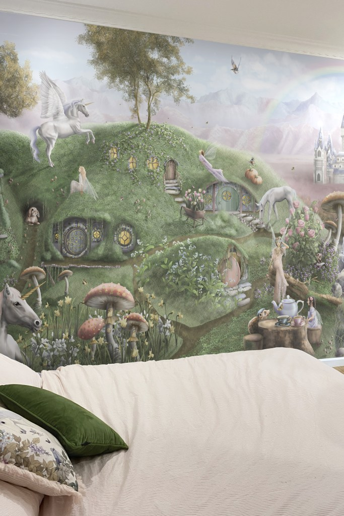 Kids fairy tale wallpaper wall mural with sparkling princess castle and rainbow.