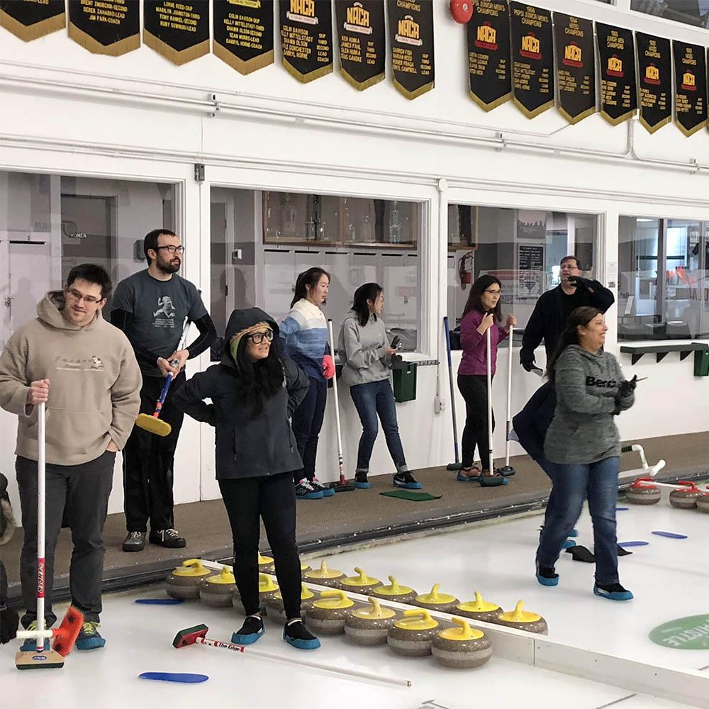 Willowglen employees curling