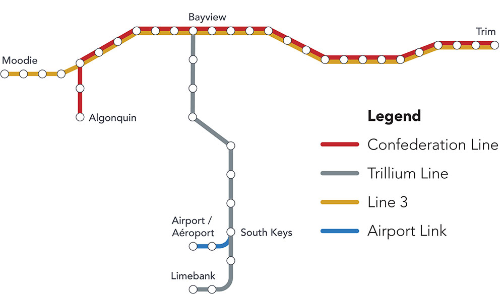 OLRT Future Expansion Map showing four lines: Confederation Line, Trillium Line, Line 3, and Airport Link