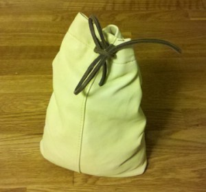 Leather Flour Container - Drawstring Closure