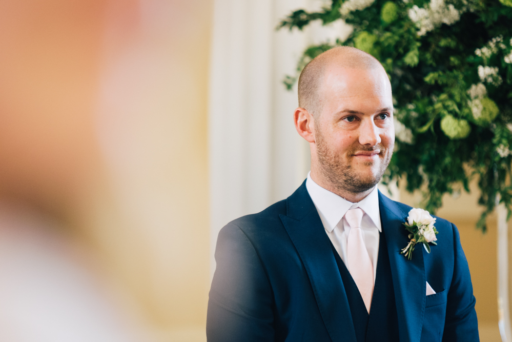 Groom waits for Bride to arrive Syon Park wedding photography