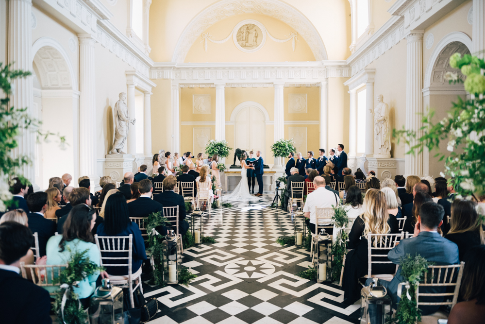 view of entire wedding ceremony at Syon House in London