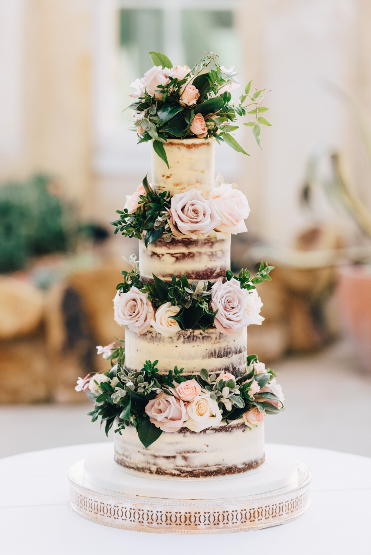 Floral greenery wedding cake