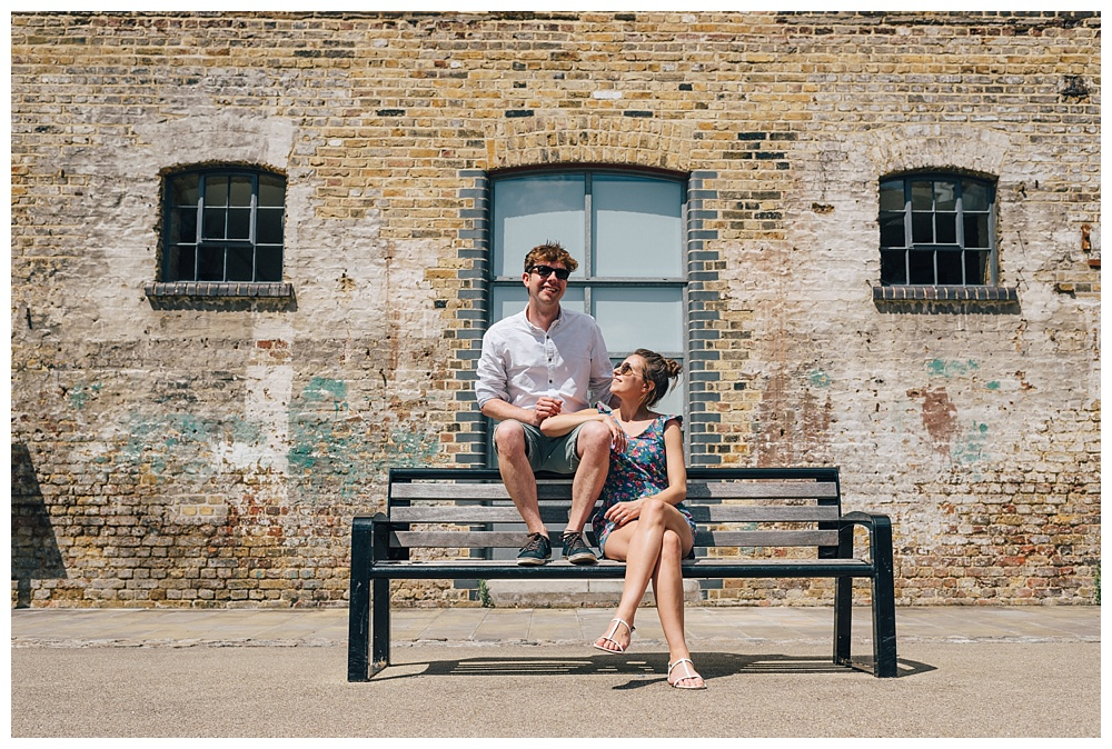Haggerston engagement shoot bench