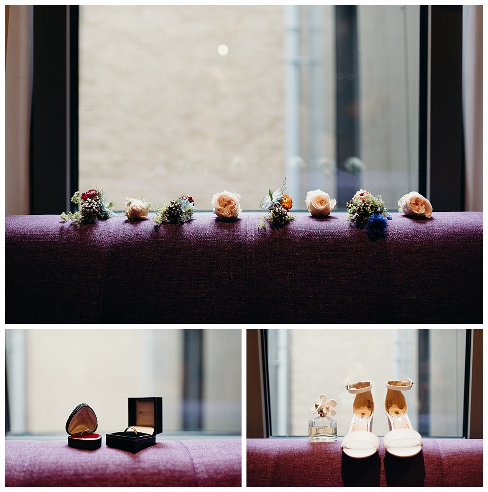 Bridal details at the Courthouse Hotel