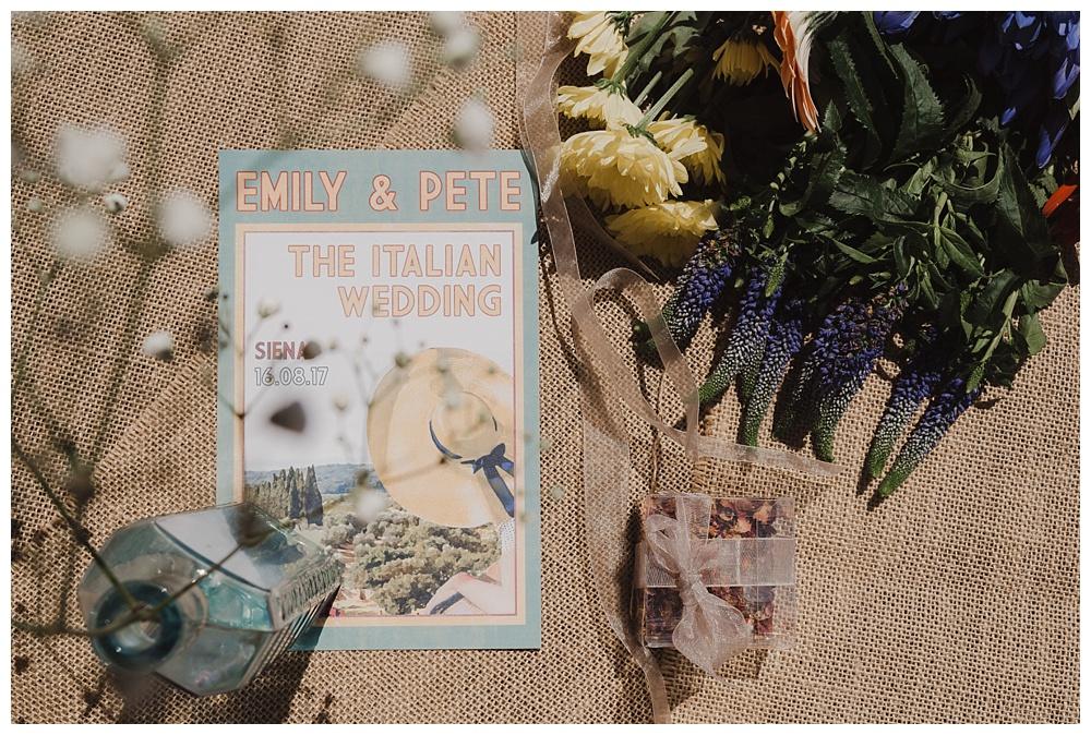 Wedding invitations to an Italian wedding