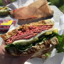 Perfect breakfast - pastrami sandwich, freshly made at our local Ralphs, eaten under palm trees in the sunshine ☀️