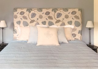 Custom upholstered square bedhead