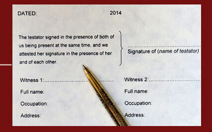 signing and execution, signing and execution of a will, witnessing a will, witnesses, attest, sign, make a will