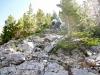 Climbing up to the rocky ridge