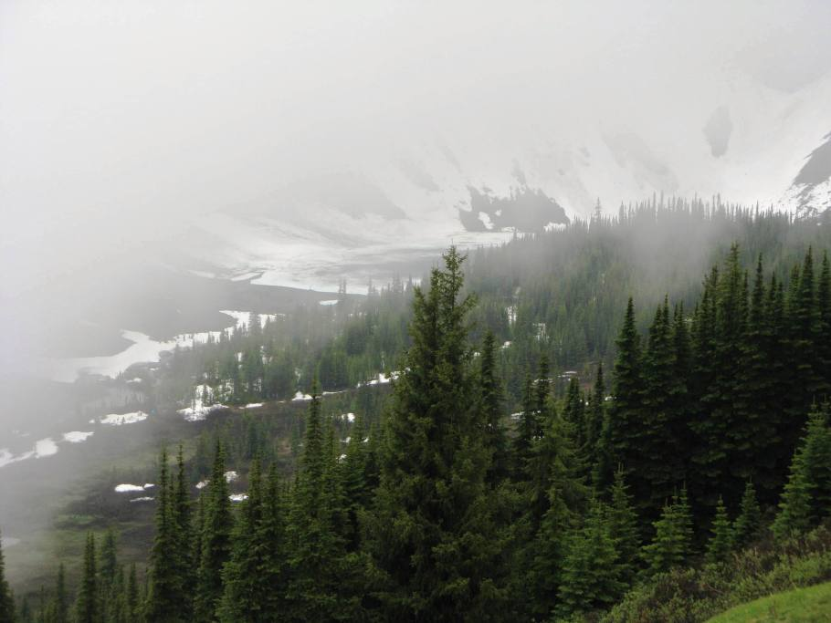 Borgeau Lake hiding in the clouds