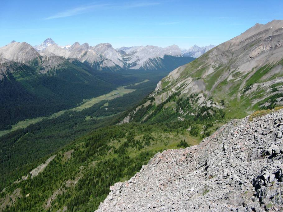 Looking down Palliser Pass trail  Mt Assinaboine distant left