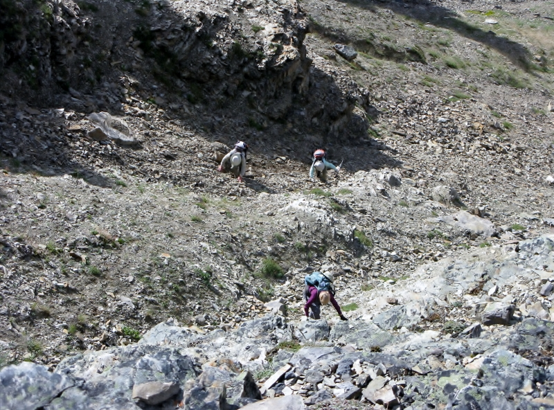 Scrambling up Wastach Pass