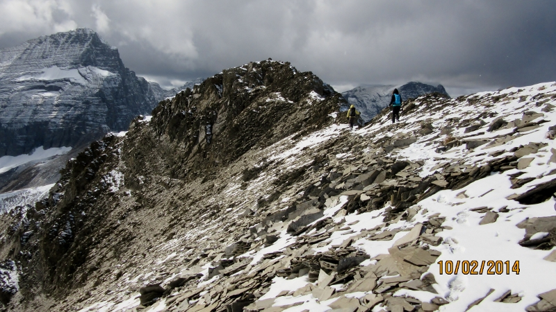 Heading down the ridge to the lower summit