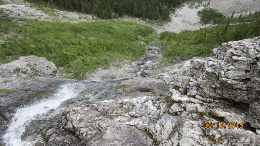 Looking down the waterfall from the tarn.We descended this way but it is not to be recomended