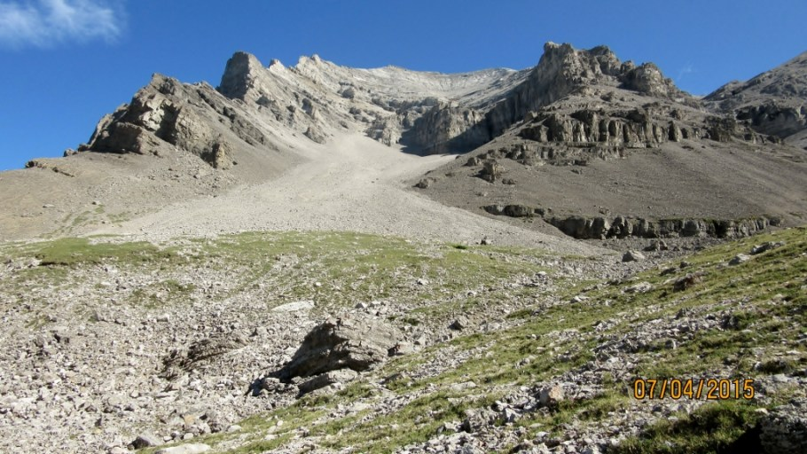 View of the scree cone from Spencer Creek