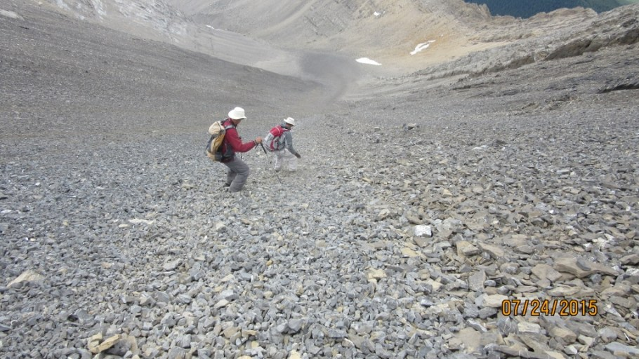 Coming down the scree gully