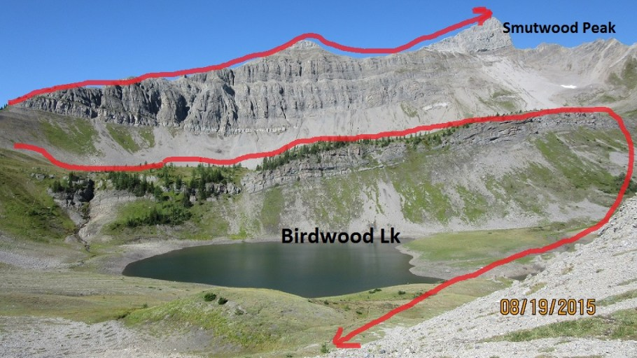 Lower Birdwood Lake from the col. Smutwood
