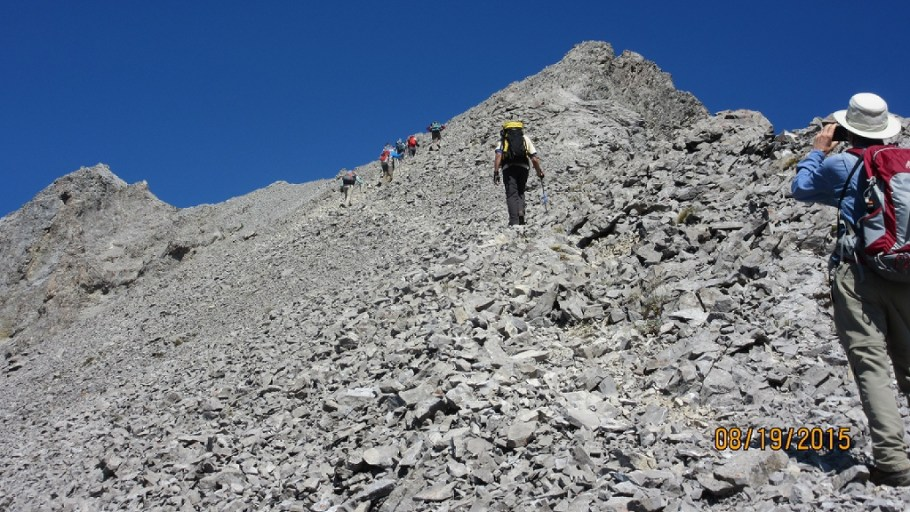 The last rubble section to the summit