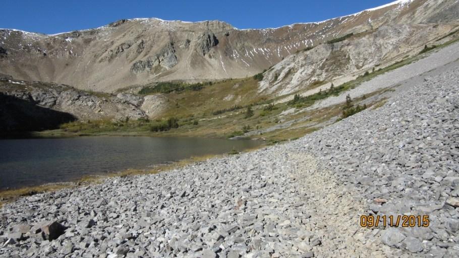Upper Bourgeau lake. Trail to Harvey Pass