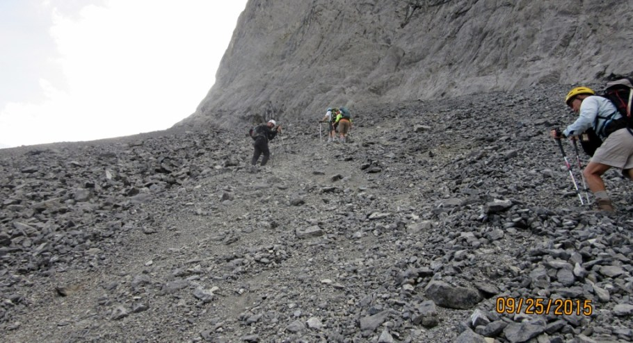 Scrambling up the scree
