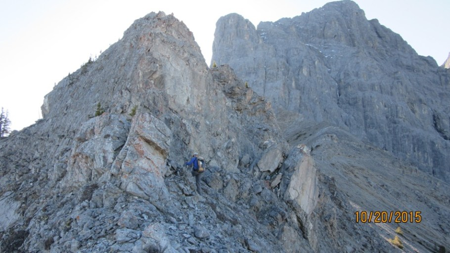 Easy route is left rock climbing to your right
