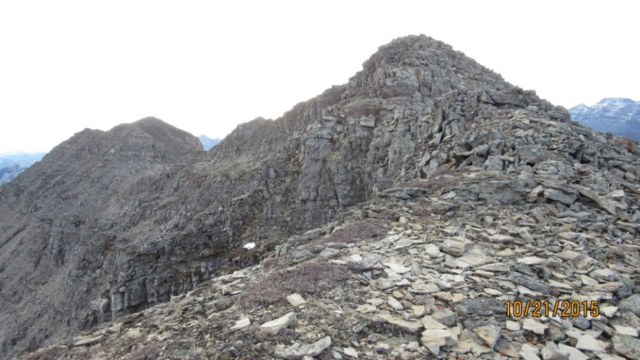Looking at the ridge to the summit