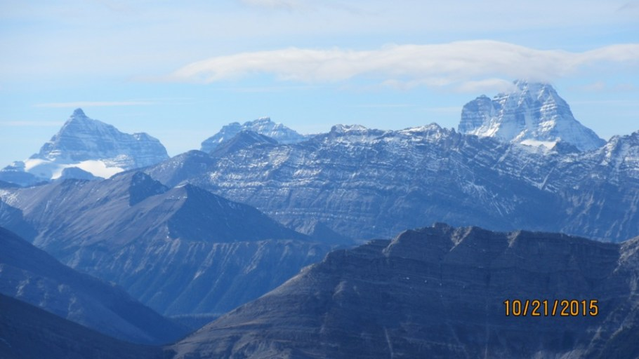 Incredible views over to Assiniboine 30km away