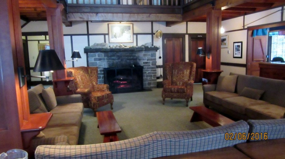 Inside the Lake O'Hara Lodge for lunch