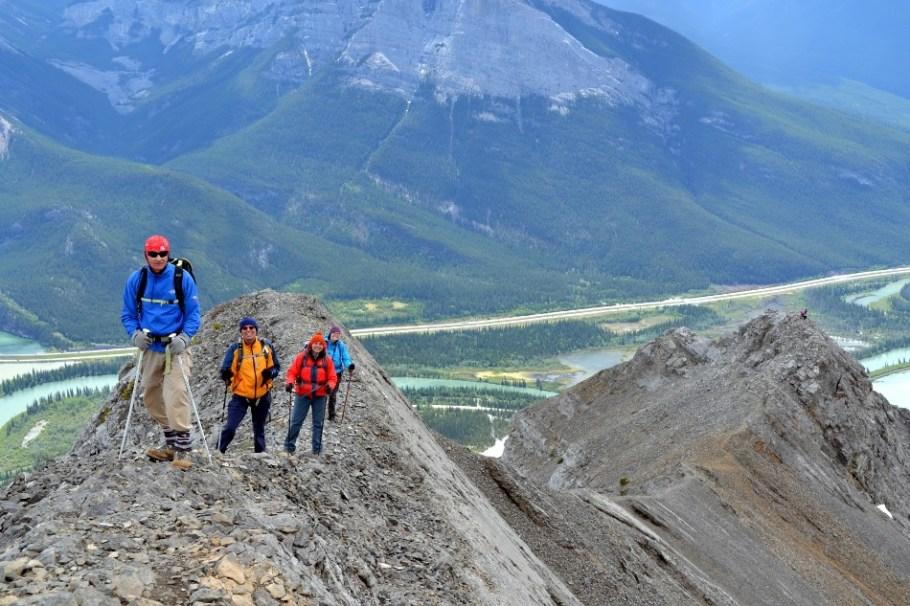 See the people on the false summit of the ridge