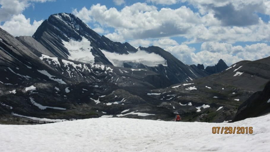 On a big snow patch looking at Mt Sir Douglas
