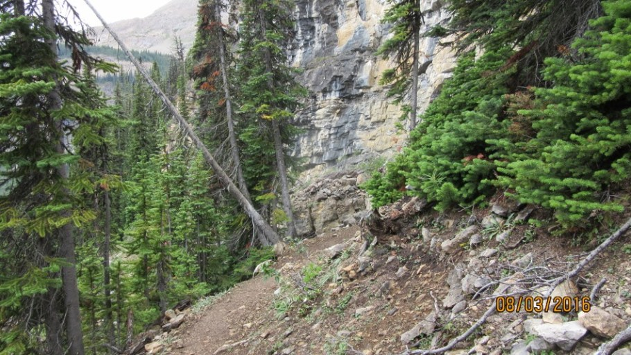 Trail switchbacks down to the bottom of the falls