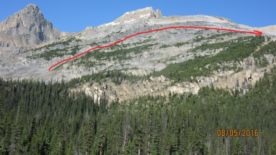 View of the Ledge area with a rough red line of route