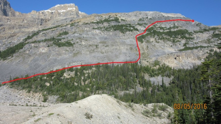The route taken through the ledges