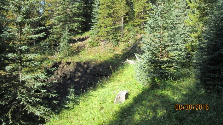 Cross over drainage before heading up to the right