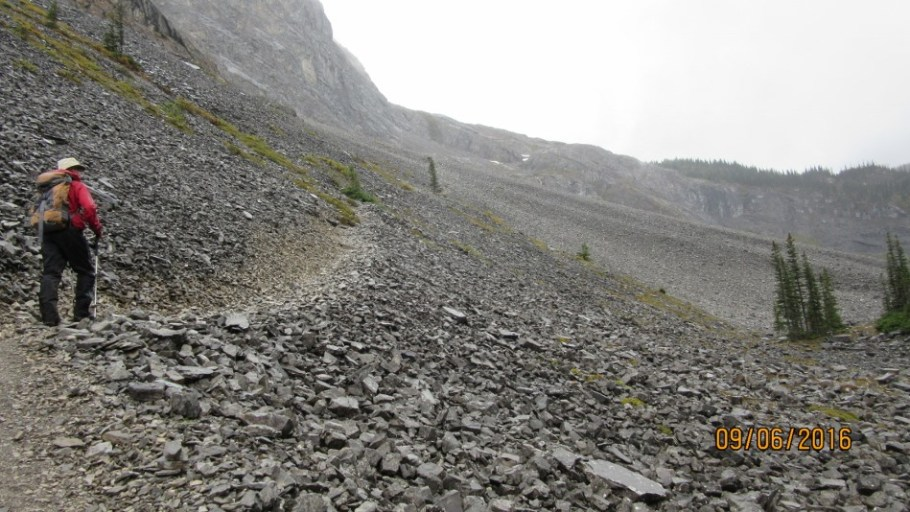 Crossing the scree of Mt Sarrail to the next headwall