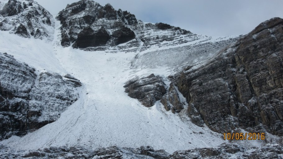 The route up the scree and to the right