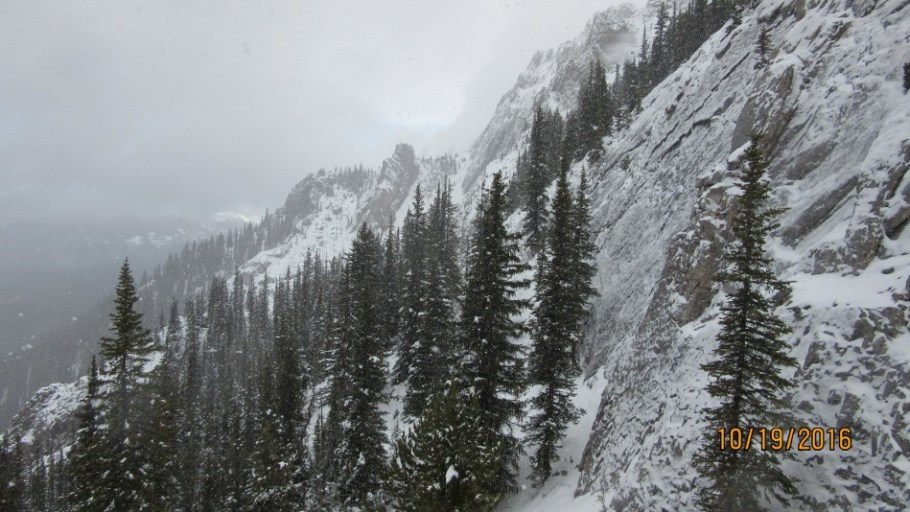 We followed the steep cliff right looking for a route to go higher. Only the goats got higher