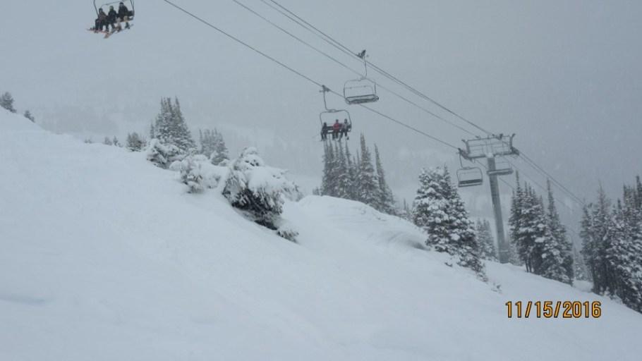 Skiing under Standish Chair