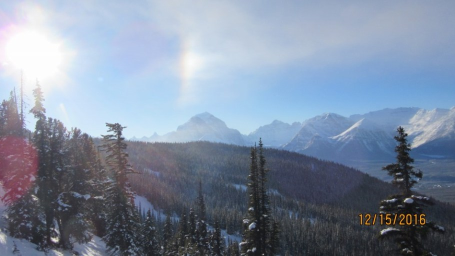 Sun Dog over Mt Temple from the Larch Lift