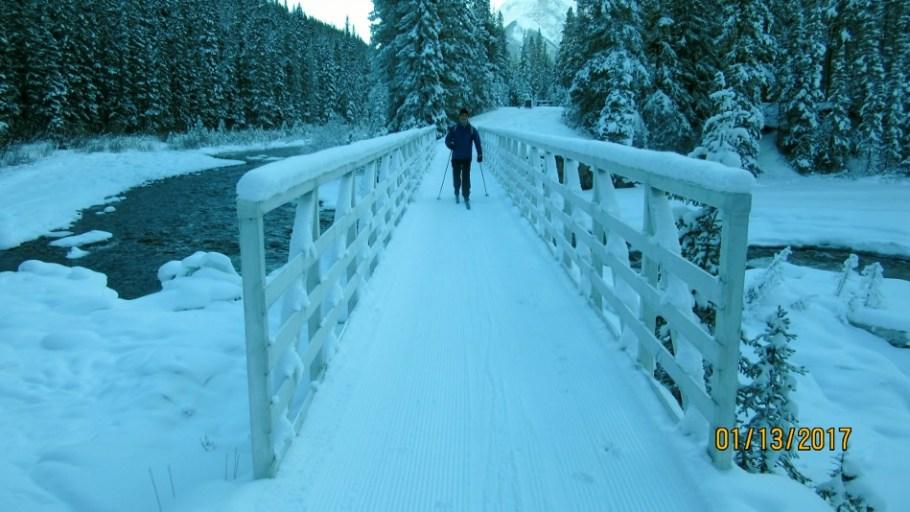 Greg crossing the foot bridge. Track had just been set
