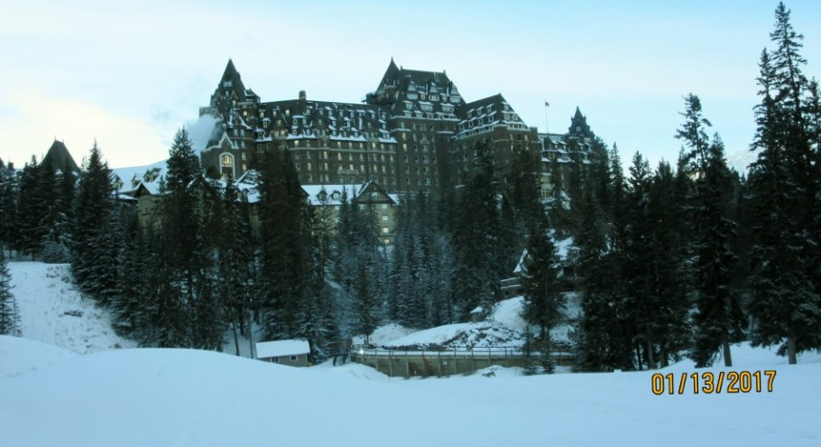 At the end of the trail crossing the golg course with the Banff Springs Hotel