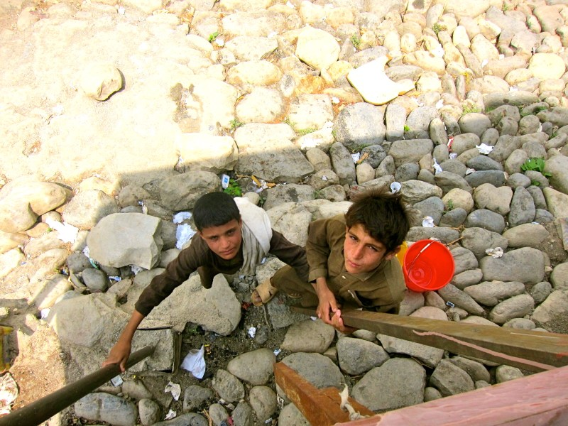 Afghan boys with Ladder