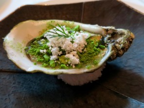 Amuse 4: Mesquite-smoked Fat Bastard Oyster, horseradish snow, pickled shallot, dill powder