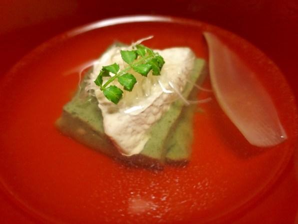 Suimono (soup) course - Sesame tofu, bonito