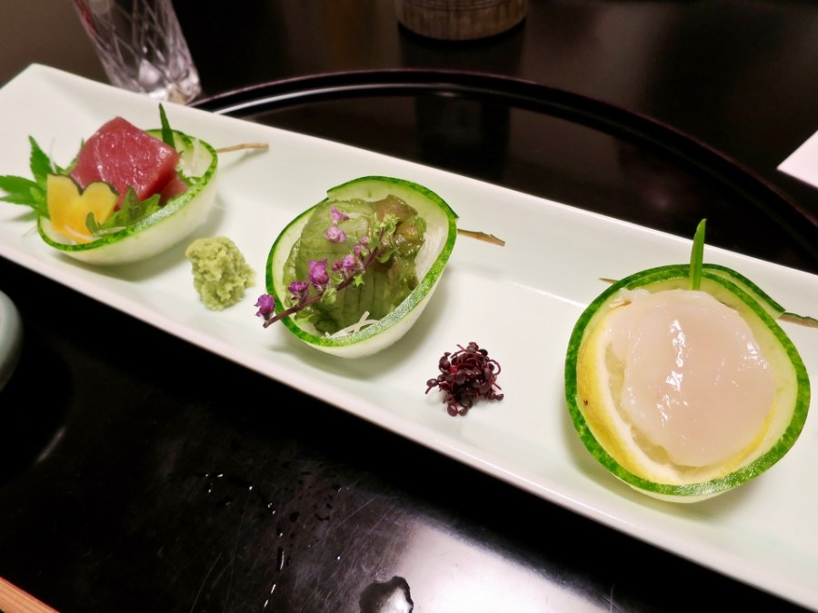 Sashimi course - Tuna, green tea infused sea bass, scallop
